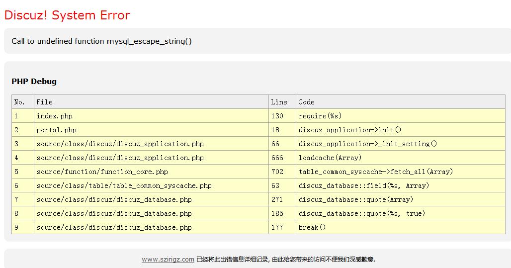 DZ出现Call to undefined function mysql_escape_string错误原因及修正办法