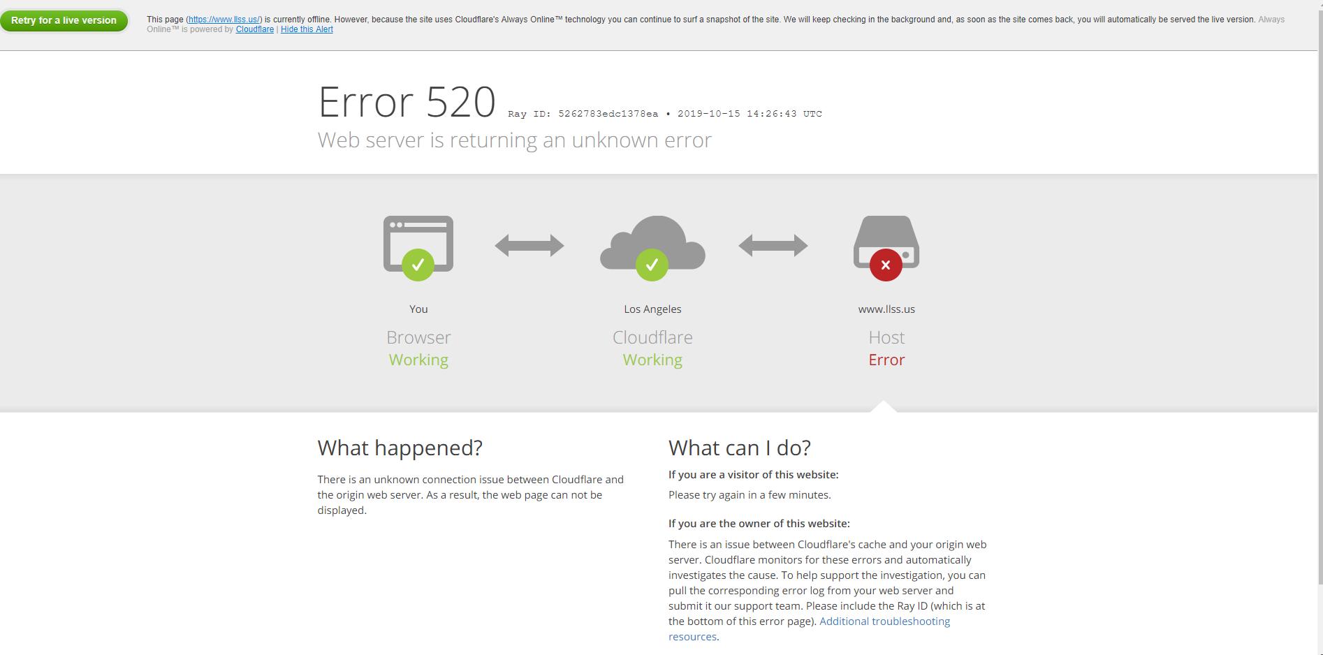 接入Cloudflare后报错520解决办法及CloudflareSSL部署